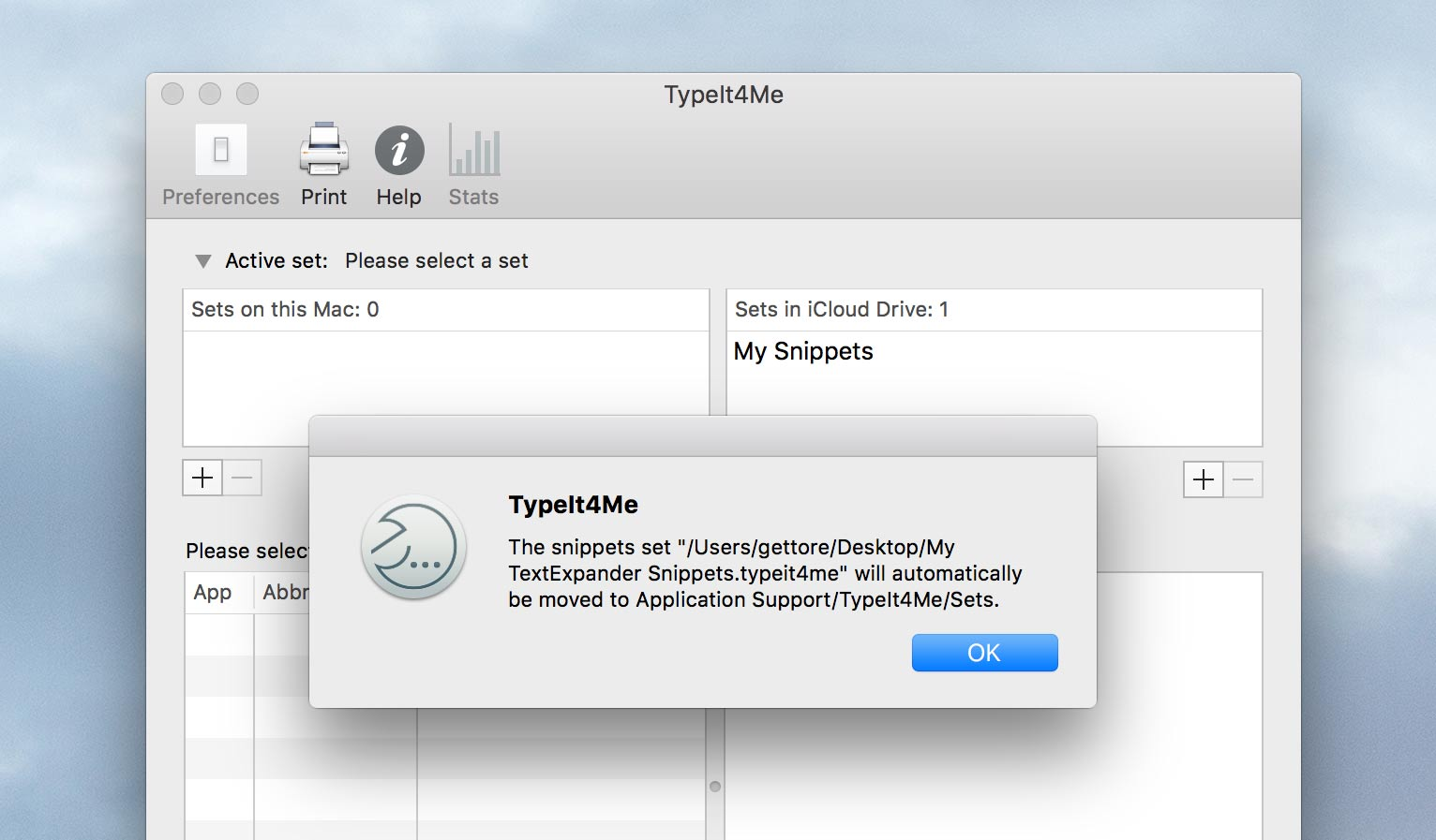 TypeIt4Me will display this alert. Click OK to import your snippets.